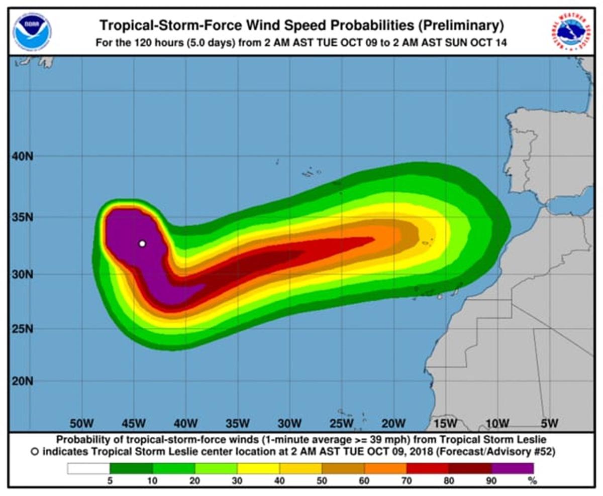 Trayectoria de la tormenta Leslie, según el Centro Nacional de Huracanes. / NOAA