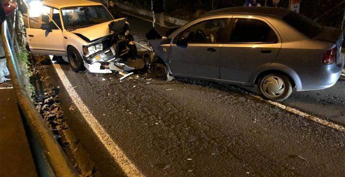 Cuatro heridos tras la colisión de tres vehículos en La Orotava