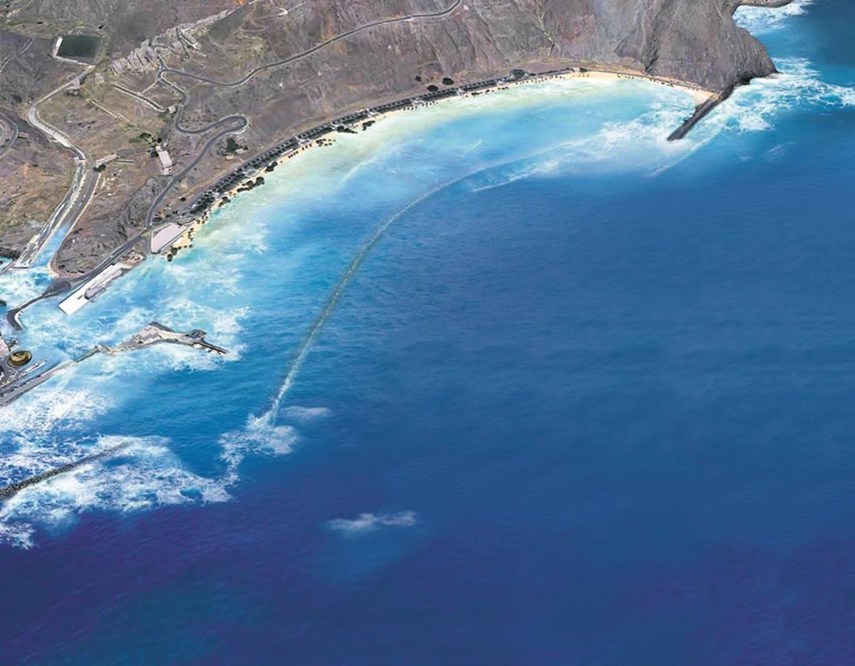 Vista aérea de la playa de Las Teresitas. DA