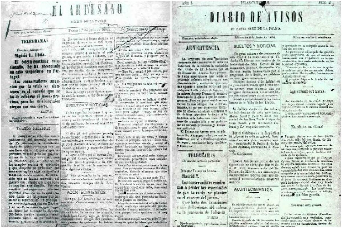 A la izquierda, el Artesano, publicado el 1 de julio de 1890, y a la derecha, el primer número de DIARIO DE AVISOS, un día más tarde. DA