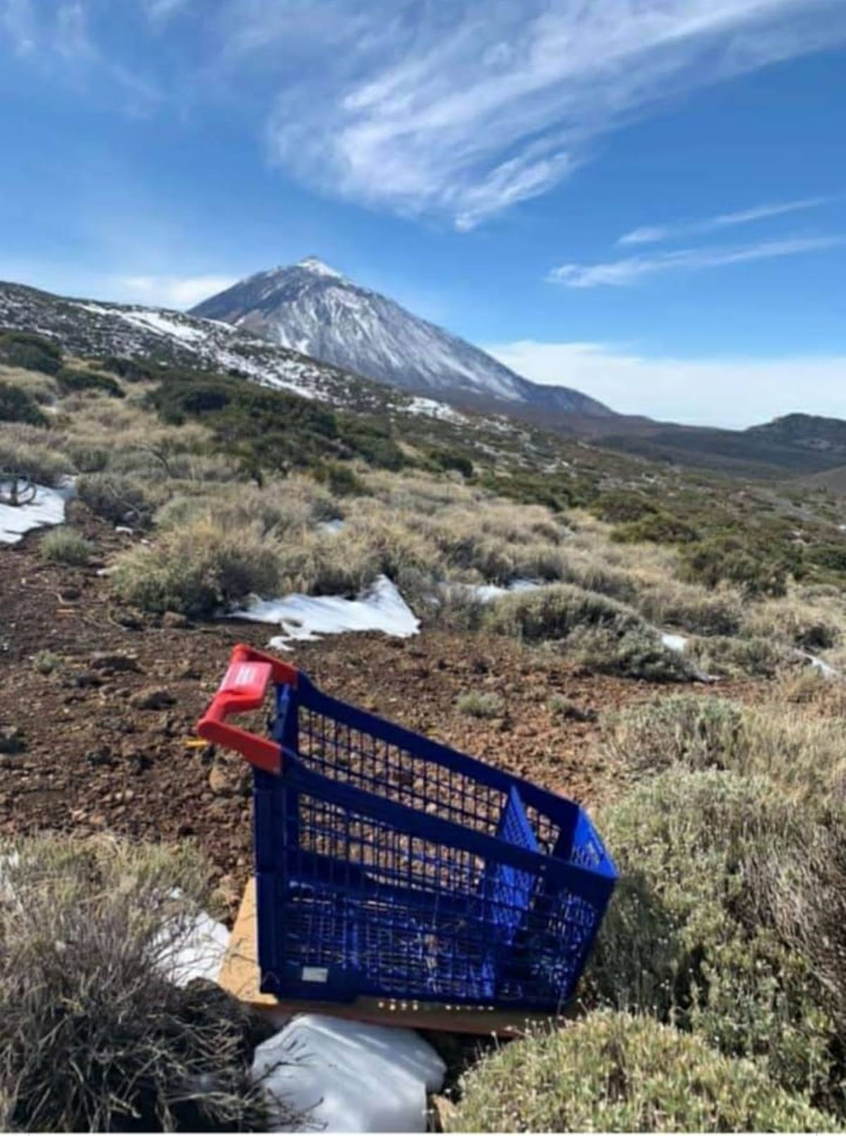Carro de la compra en el Parque Nacional del Teide. Isaac Rojas-Telesforo Bravo (Facebook)