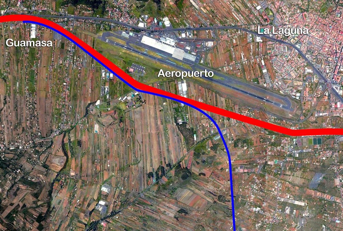 Plano del trazado de la futura Vía de Circunvalación, que discurrirá desde Guamasa hasta Guajara,        por encima del Aeropuerto de Los Rodeos. DA