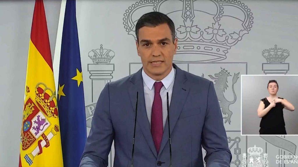 Pedro Sánchez, durante su comparecencia. E. E.