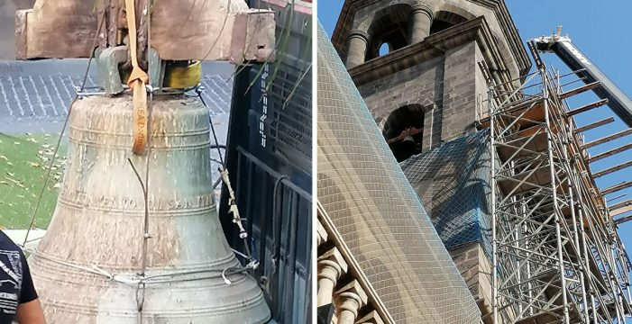 Retiran la campana de la iglesia de San Francisco por el riesgo de caída