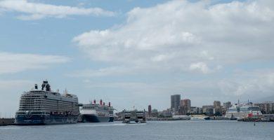 Cuatro cruceros coinciden en Santa Cruz por primera vez tras la COVID