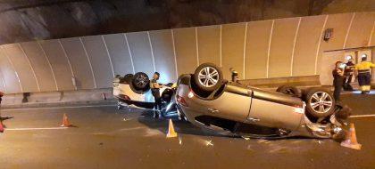 Aparatoso accidente de tráfico en el interior de un túnel en La Palma