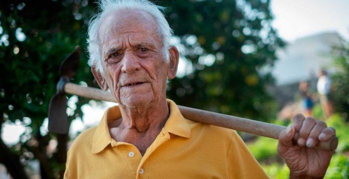 Blas Donate, la alegría de la huerta: con 91 años no quiere dejar de sachar papas