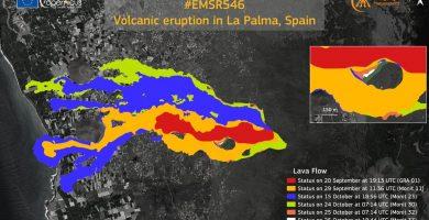 Copernicus eleva a 911,6 hectáreas la superficie arrasada por la lava